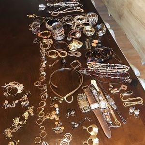 An assortment of gold jewelry
